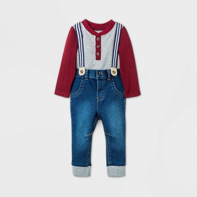 Baby Boys' Henley 'Little Man' Denim Top & Bottom Set - Cat & Jack™ Gray 6-9M