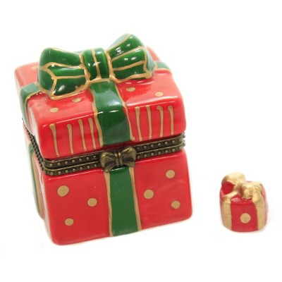 "Hinged Trinket Box 2.0"" Red Gift Box Present Christmas Bow  -  Decorative Figurines"