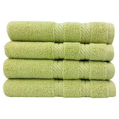 4pc Antalya Turkish Washcloth Towels Set Green - Makroteks