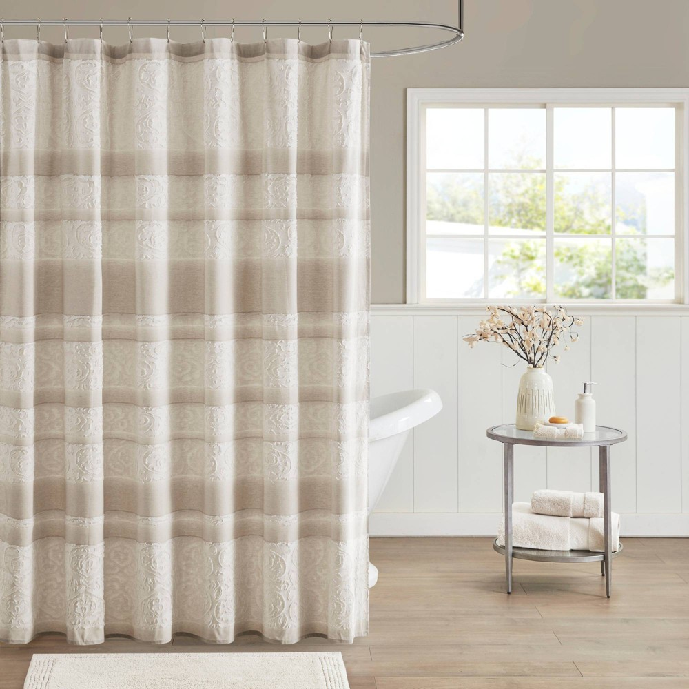Image of Anais Cotton Clipped Jacquard Shower Curtain Taupe, Gray