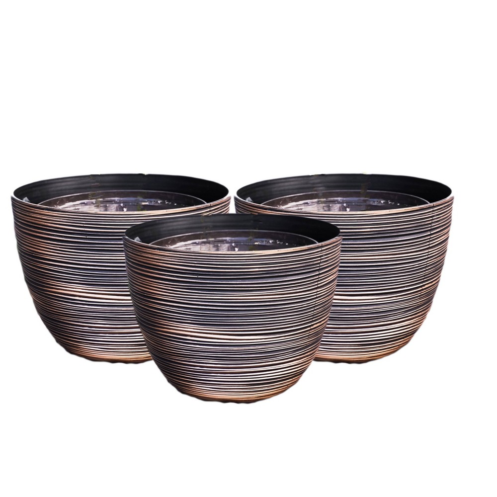 "Image of ""12"""" 3pk Indoor/Outdoor Nested Planter Pot Brown - XBrand"""