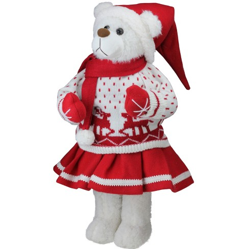 """Northlight 20"""" White and Red Winter Girl Santa Bear in Deer Sweater Christmas Figure Decoration - image 1 of 4"""
