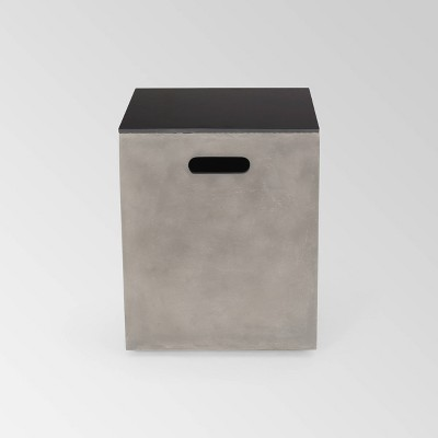Aido Square Light Weight Concrete Side Table Tank Holder Light Gray - Christopher Knight Home