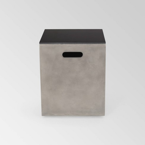 Aido Square Light Weight Concrete Side Table Tank Holder Light Gray - Christopher Knight Home - image 1 of 4
