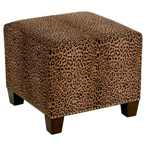 Awe Inspiring Square Nail Button Ottoman Cheetah Earth Skyline Furniture Ncnpc Chair Design For Home Ncnpcorg