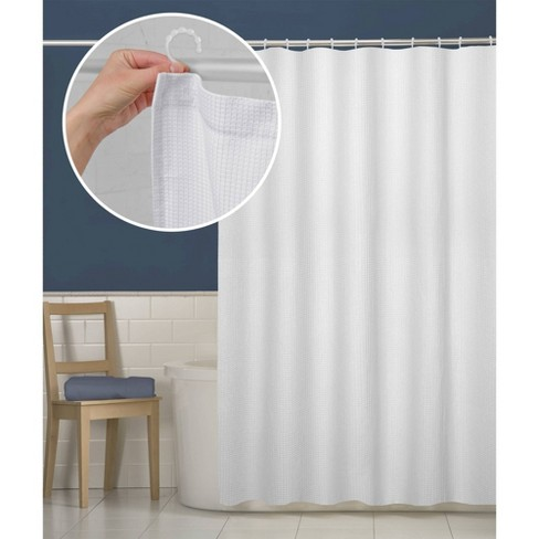 Smart Shower Curtains Waffle Fabric With Attached Hooks - Maytex - image 1 of 5