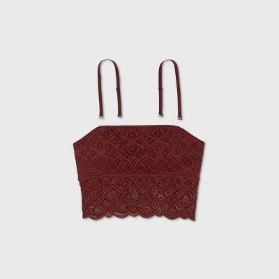 Women's Lace Longline Bralette - Colsie™ Red