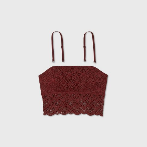 Women's Lace Longline Bralette - Colsie™ Red - image 1 of 1