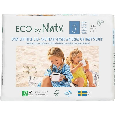 Eco By Naty 6pk Premium Disposable Diapers for Sensitive Skin - Size 3 (180ct)