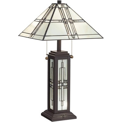 Robert Louis Tiffany Mission Table Lamp with Nightlight LED Oil Rubbed Bronze Geometric Stained Glass Shade Living Room Bedroom