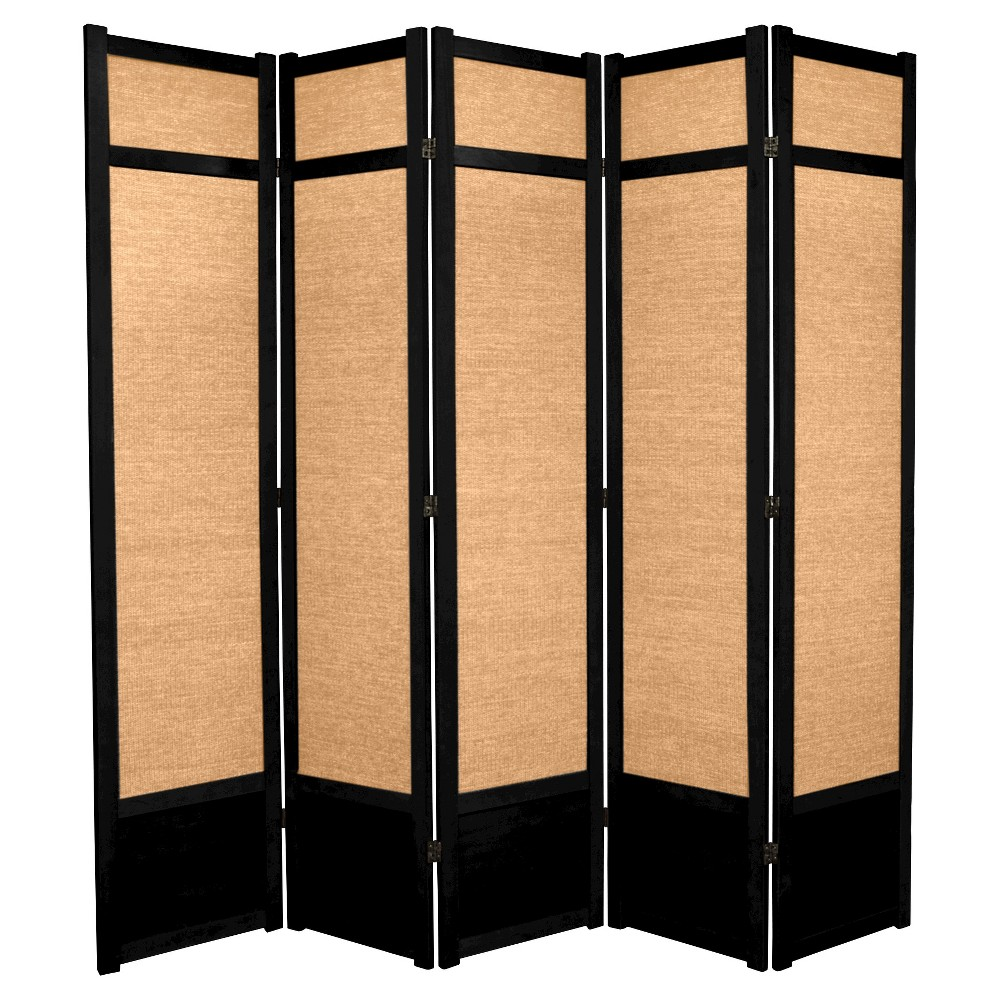 7 ft. Tall Jute Shoji Screen - Black (5 Panels)