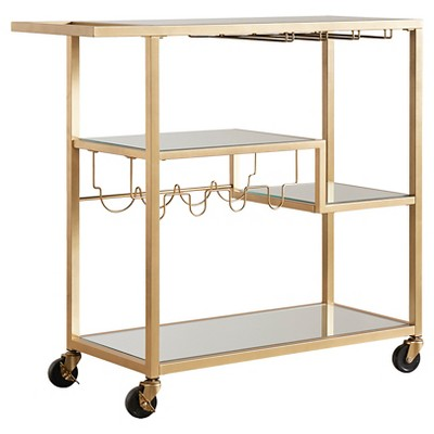 Estelle Step-Tier Metal + Glass Bar Cart - Champagne Gold - Inspire Q
