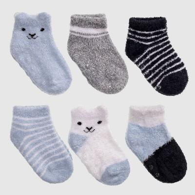 Baby 6pk Bear Print Low Cut Socks - Cat & Jack™ Blue 6-12M