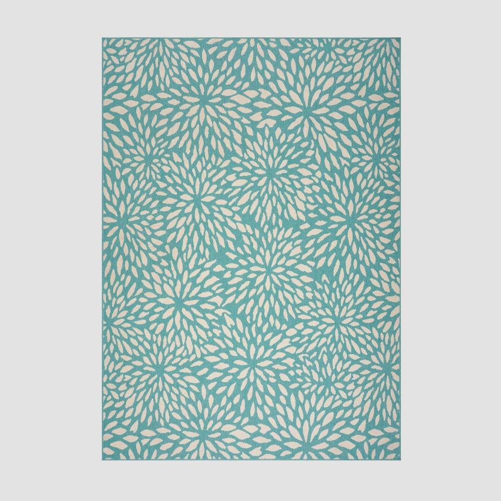 8' x 11' Simone Floral Outdoor Rug Blue/Ivory - Christopher Knight Home