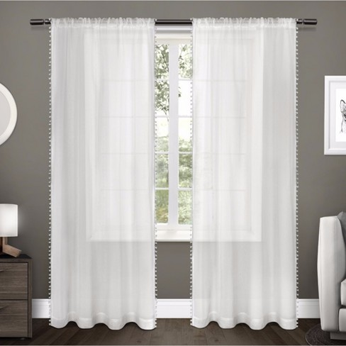 """Sheer Pom Pom Curtain Panels Pair White (54""""x96"""") Exclusive Home - image 1 of 4"""
