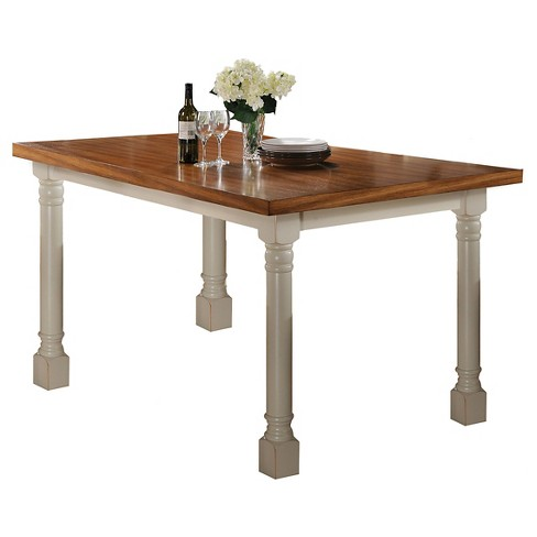 Wilton Counter Height Table Wood Distressed Oak And Antique Cream Acme