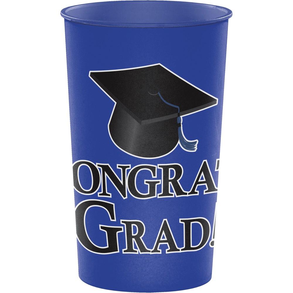 Graduation Cobalt Blue 22 Oz Plastic Cup