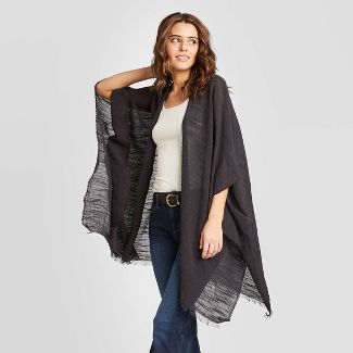 Women's Slub Kimono - Universal Thread™ Black One Size