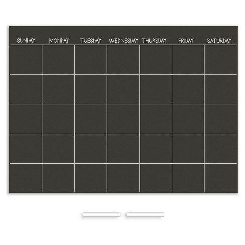 Wall Pops!  Chalk Board Calendar Monthly - Black - image 1 of 2