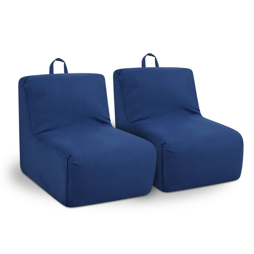 Image of 2pc Tween Foam Chairs with Handles Navy - Kangaroo Trading Company, Blue