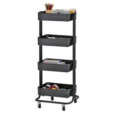 ECR4Kids 4-Tier Metal Rolling Utility Cart - Mobile Storage Organizer