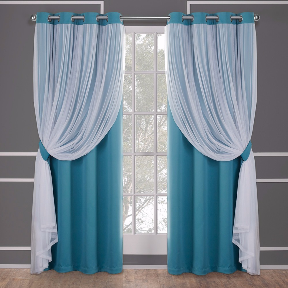 Caterina Layered Solid Blackout With Sheer Top Curtain Panels Turquoise Blue 52X84 - Exclusive Home