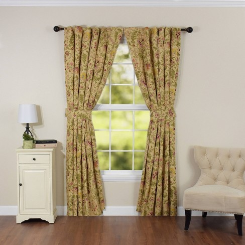 """Set of 2 84""""x100"""" Imperial Dress Light Filtering Curtain Panel Off White/Red - Waverly - image 1 of 3"""