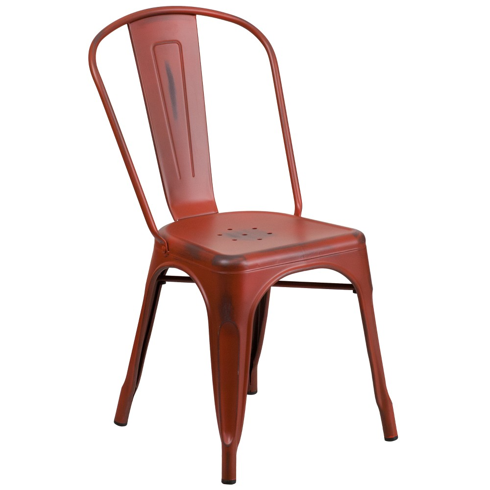 Riverstone Furniture Collection Distressed Metal Chair Red