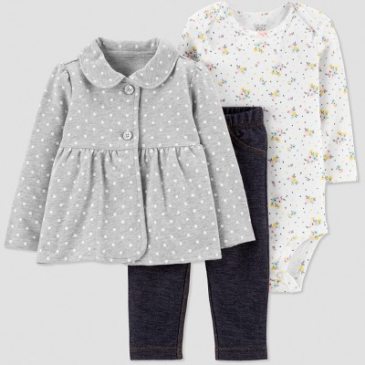Baby Girls' 3pc Dot Floral French Terry Cardigan Set - Gray/Navy Blue/White Newborn