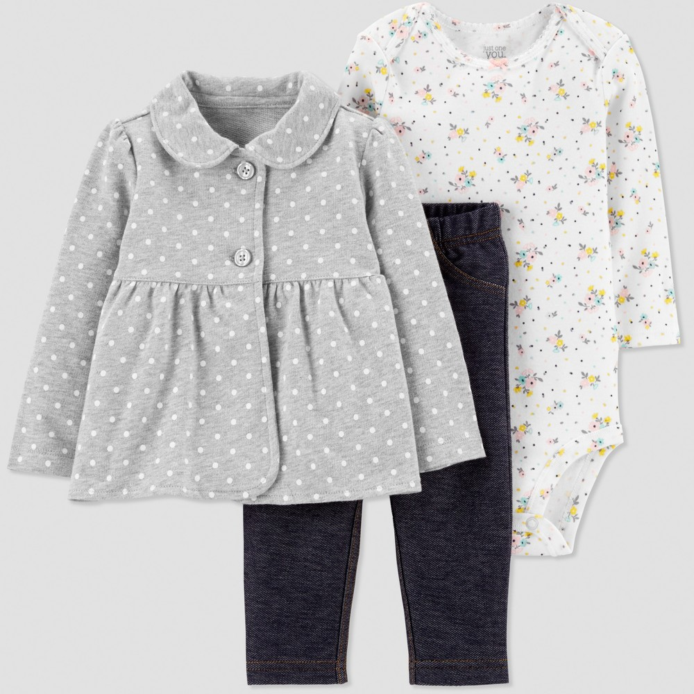 Baby Girls' 3pc Dot Floral French Terry Cardigan Set - Gray/Navy Blue/White 6M