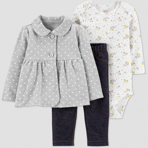 ff8e5027cb0 Baby Girls  3pc Dot Floral French Terry Cardigan Set - Gray Navy  Blue White. Shop all Just One You made by carter s