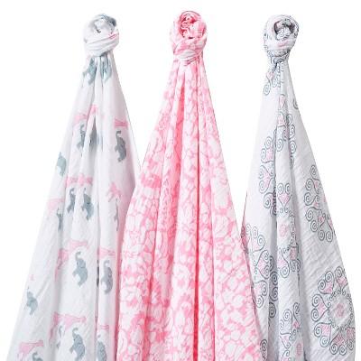 SwaddleDesigns SwaddleLite 3pk Blanket - Lush Lite - Pink