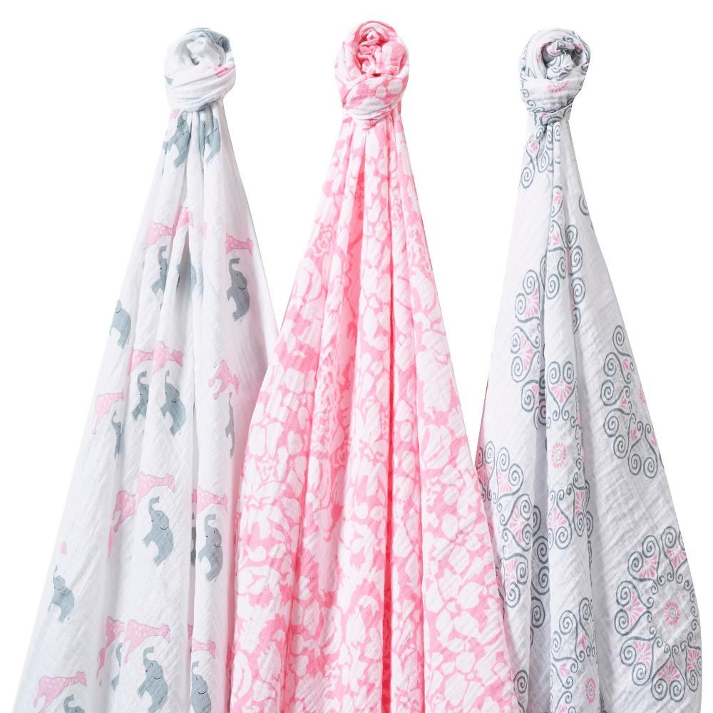 Image of SwaddleDesigns SwaddleLite 3pk Blanket - Lush Lite - Pink