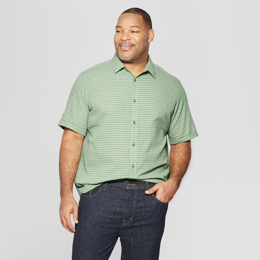 Men's Big & Tall Striped Short Sleeve Novelty Button-Down Shirt - Goodfellow & Co Pioneer Sage 4XBT