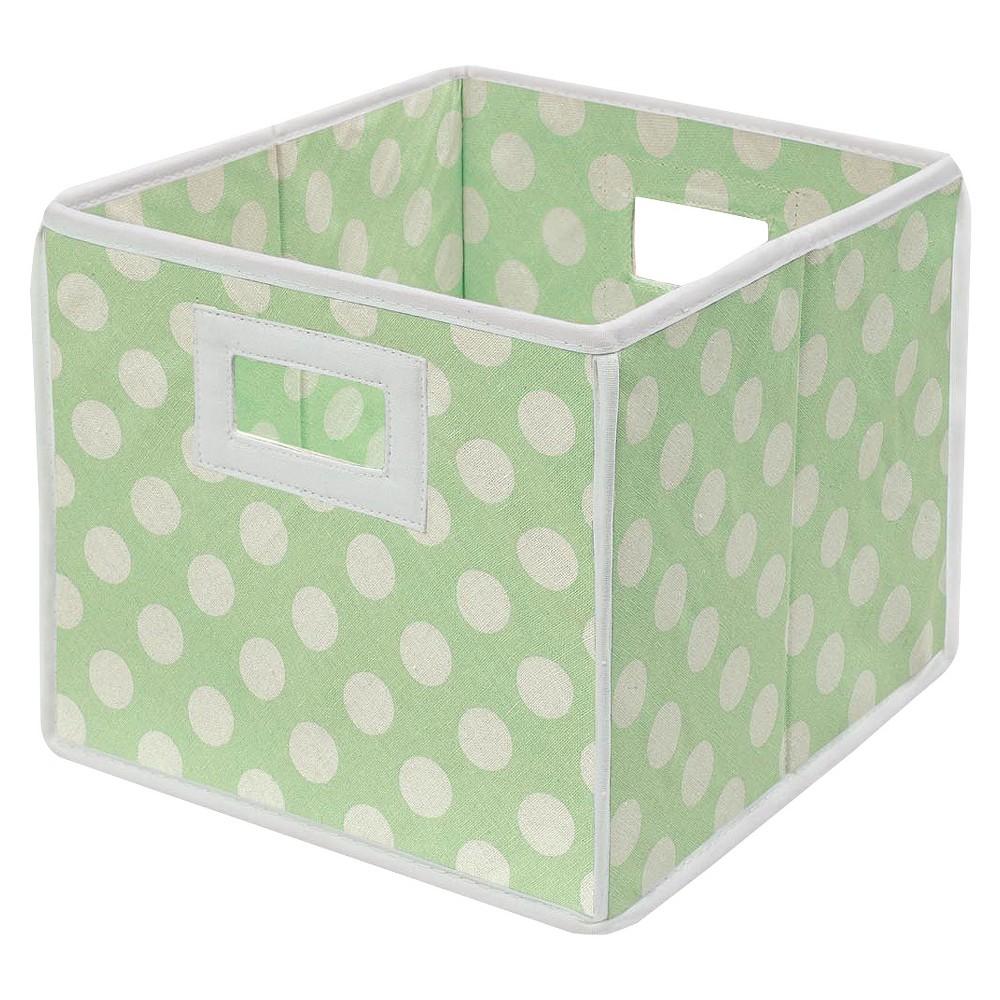 Image of Badger Basket Company Polka Dot Fabric Cube - Sage