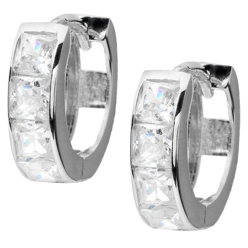 1 1/5 CT. T.W. Square Cut Cubic Zirconia Pave Set Hoop Earrings - Silver - image 1 of 2