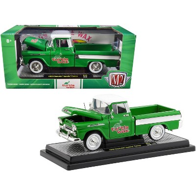 """1958 Chevrolet Apache Cameo Pickup Truck Green with White Top and White Stripes """"Turtle Wax"""" Ltd Ed to 6880 pcs 1/24 Diecast Model Car by M2 Machines"""