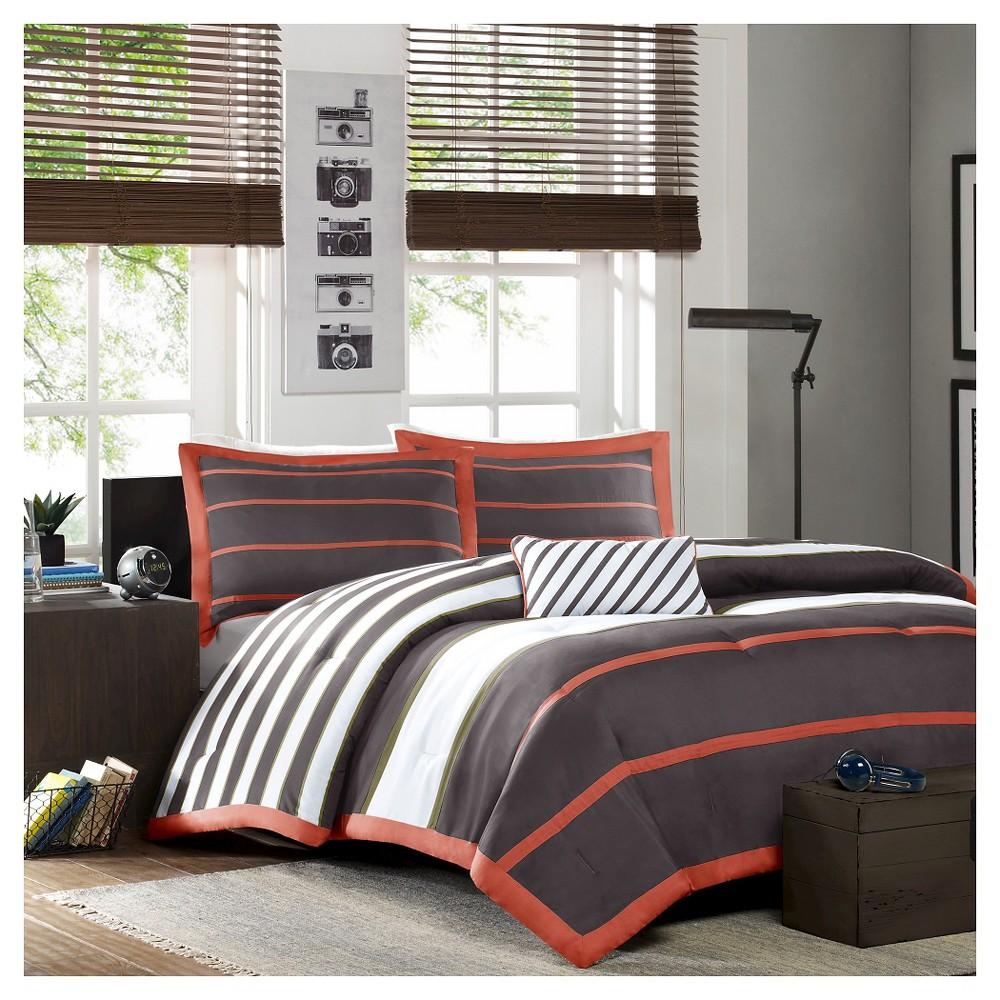 Gray Cody Comforter Set Bold Stripe King/California King 4pc, Orange