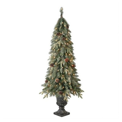 Home Heritage Entryway 5 Foot Prelit Pot Pine Christmas Tree With White Lights and Pinecones
