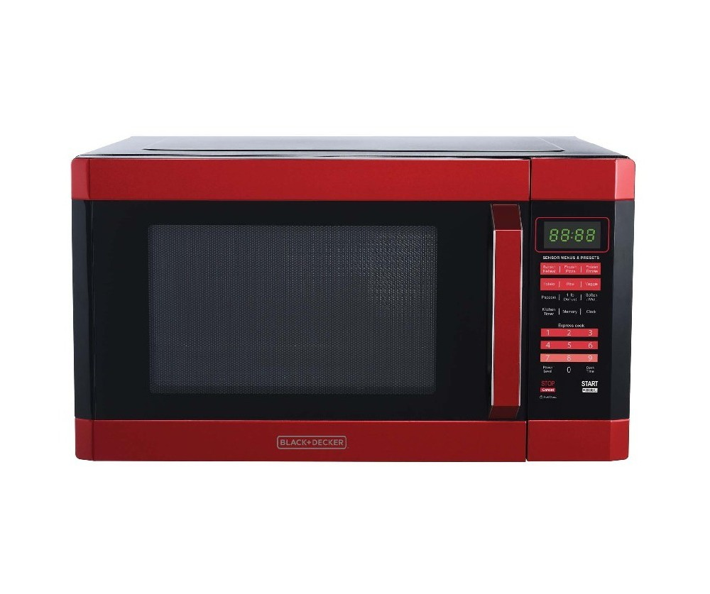 Black+decker 1.6 cu ft 1100W Microwave Oven Red