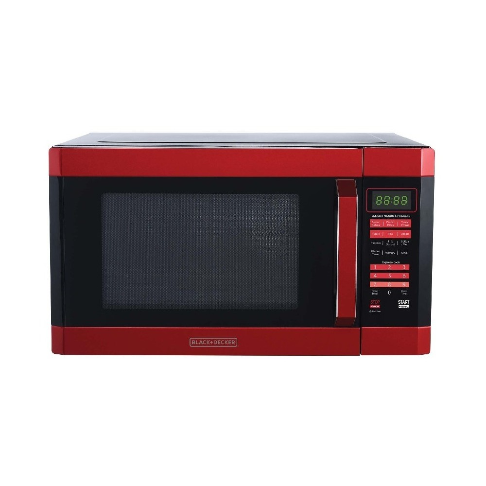 Image of BLACK+DECKER 1.6 cu ft 1100W Microwave Oven Red