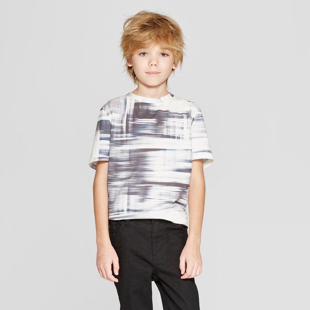 Boys' Short Sleeve Curved Hem T-Shirt - art class White XS