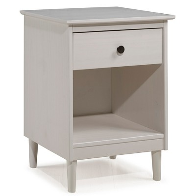Classic Mid Century Modern 1 Drawer Nightstand Side Table White - Saracina Home