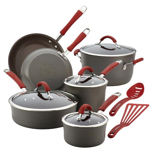 Rachael Ray Cucina 12 piece Hard Anodized Cookware Set - Cranberry - image 1 of 7