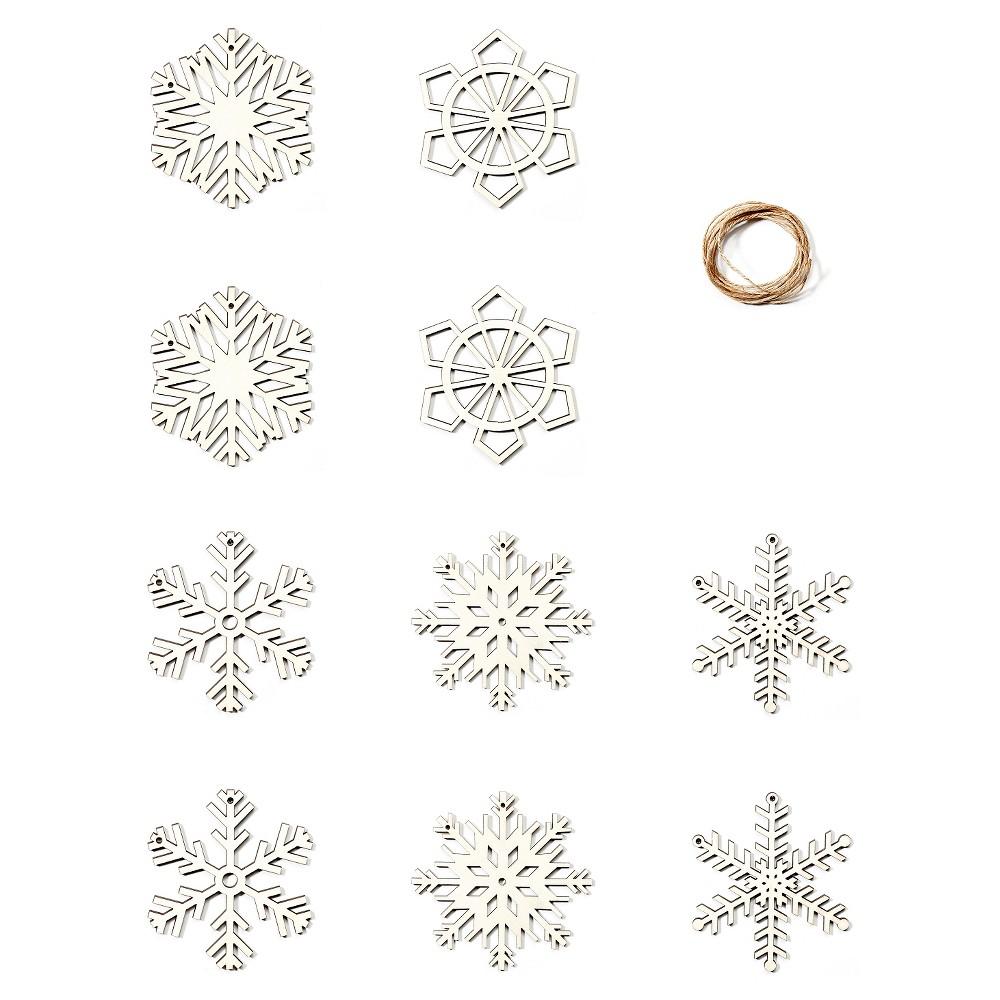 Hand Made Modern - Wood Garland - Snowflakes, Natural