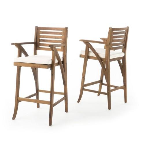 Fine Hermosa Set Of 2 Acacia Wood Outdoor Barstool Teak Finish Christopher Knight Home Bralicious Painted Fabric Chair Ideas Braliciousco
