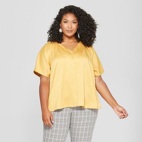 3bb6c7b59b8 Women s Plus Size Button Front Short Sleeve Blouse - Ava   Viv™ Gold ...