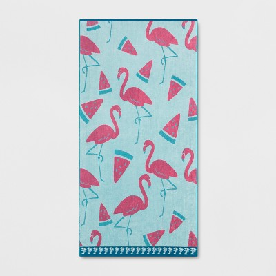 XL Flamingo Beach Towel Pink/Turquoise - Sun Squad™