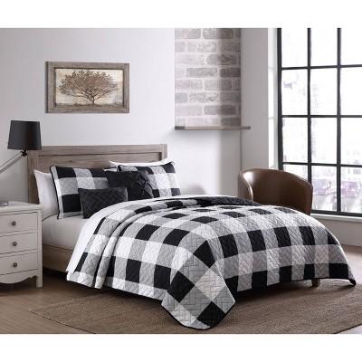 Buffalo Plaid 5pc Quilt Set - Geneva Home Fashion