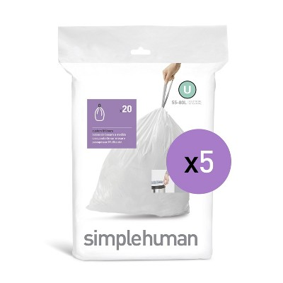 simplehuman 50-80L 100ct Code U Custom Fit Trash Can Liner White